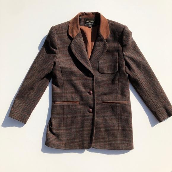 Vintage Jackets & Blazers - Vintage Campaign Int. Leather Collar Wool Blazer